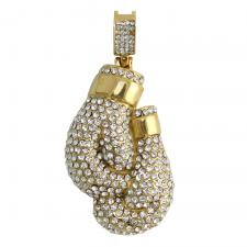 CZ Encrusted Gold Tone Boxing Gloves Pendant