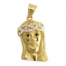Gold Tone CZ and Black Stone Jesus Pendant