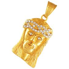 Gold Coated Stainless Steel Jeweled Jesus Pendant