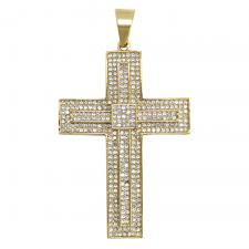 CZ Encrusted Gold Tone Double Cross