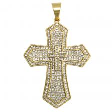Encrusted CZ Gold Tone Double Cross Pendant