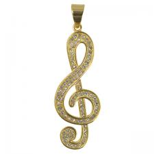 Stainless Steel Gold PVD Encrusted Music Note Pendant