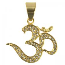 Stainless Steel Gold PVD Encrusted Namaste Pendant