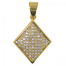 Stainless Steel Gold PVD Encrusted Diamond Pendant