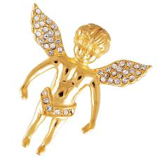 Gold Coated Stainless Steel Jeweled Cherub Pendant