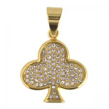 Stainless Steel Gold PVD Encrusted Clover Pendent