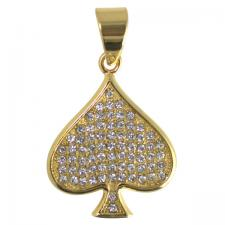 Stainless Steel Gold PVD Encrusted Spade Pendant