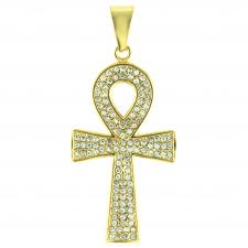 Stainless Steel Jeweled Gold PVD Ank Cross Pendant