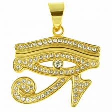 Stainless Steel Jeweled Gold PVD Eye Of RA Pendant