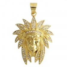 Gold PVD Stainless Steel Jeweled Indian Pendant