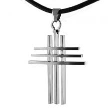 Large Size Stainless Steel Cross Pendent With Leather Chord