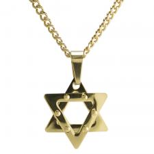 Gold Curb Link Star Of David Necklace