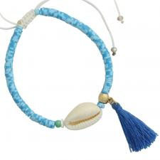Baby Blue Bead Sea Shell Bracelet