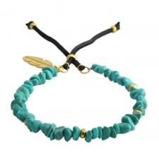 Leather Bracelet with Turquoise Stones and Gold Feather