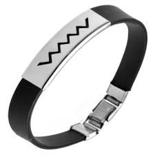 Zig-Zag Stainless Steel and Black Rubber Bracelet