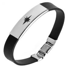 North Star Stainless Steel and Black Rubber Bracelet
