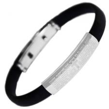 Stainless Steel and Rubber Bracelet With Padre Nuestro Prayer