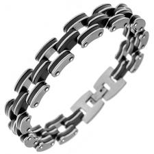 Stainless Steel and Rubber Chain Link Bracelet