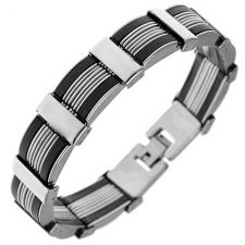 Stainless Steel and Rubber Bracelet