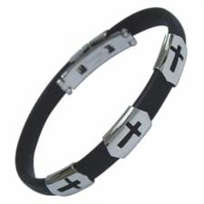 Stainless Steel and Rubber Cross Cutout Bracelet