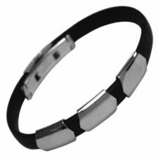 Tripple Band Stainless Steel and Rubber Bracelet