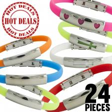 Colorful Rubber Bracelet w/ Stainless Steel ID Accent Pack 24pcs $1.00 a Piece