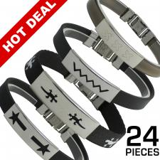 Rubber / Cloth Bracelet w/ Stainless Steel ID Accent Pack 24pcs $1.00 a Piece