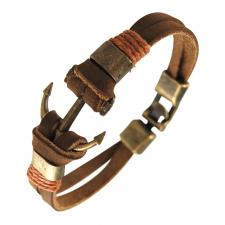 Lt. Brown Leather Bracelet w/ Ancient Gold Tone Anchor Charm