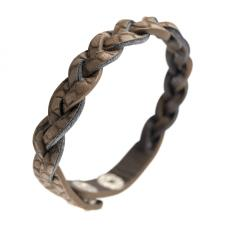 Braided Brown Synthetic PU Leather Bracelets with Reptile Skin Design