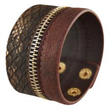 Brown Synthetic Leather Bracelet with Zipper and Snake Skin Design