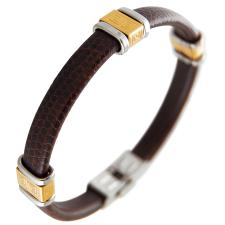 Men's Brown Synthetic Snakeskin Bracelet With Silver and Gold Accents