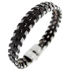 Men's Leather and Stainless Steel Cable Bracelet
