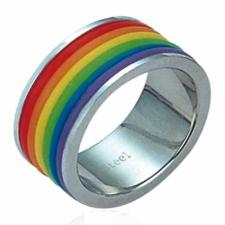 Stainless Steel Ring With Rainbow Colors - Gay Pride