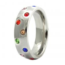 Stainless Steel Ring with Rainbow Colored Stones
