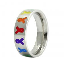 Stainless Steel Pride Ring with Rainbow Colored Ribbons