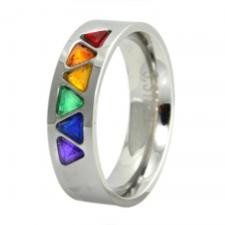 Stainless Steel Ring with Rainbow Colored Triangle Cut Stones