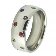 Stainless Steel CZ Rainbow Ring