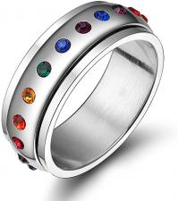Stainless Steel Jeweled Spinner Pride Ring