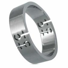 Brushed Stainless Steel Ring (Female Symbol)- Gay Pride