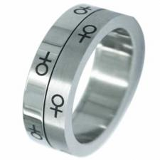 Stainless Steel Spinning Ring (Female Symbol)- Gay Pride