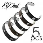 Wholesale Package of Steel and Leather Bangles