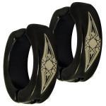 Stainless Steel Black PVD Sun Tribal Design fake huggie Earring