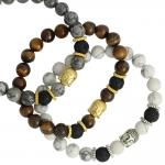 Marble Bead and Lava Stone with Buddha Head