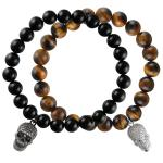 Natural Tiger Eye Stone Stretch Bead Bracelet with Micro Pave Skull Charm