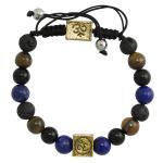 Multi-Color Lava Stone Bead Namaste Bracelet