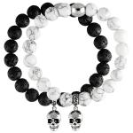 Stretch Bead Bracelet With Silver Tone Skull