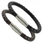 Leather Braided Bracelet with Magnetic Twist Clasp