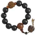 Black Wood Beaded Mala Bracelet with Buddha Faces Dangle
