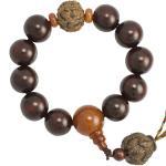 Dark Cherry Wood Beaded Mala Bracelet with Wood Lotus Pendant
