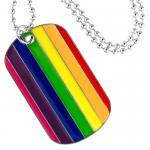 Gay Pride Dog Tag Pendant with Fashion Beaded Necklace